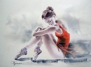 Akwarela z serii balet 43
