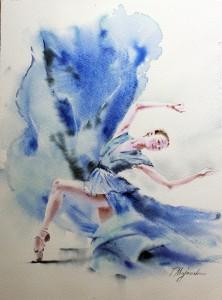 Akwarela z serii balet 57
