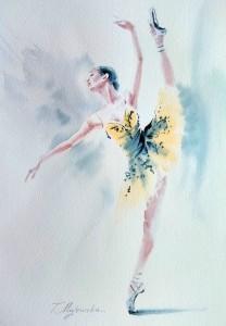 Akwarela z serii balet 64