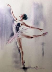 Akwarela z serii balet 73