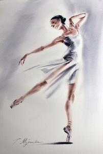 Akwarela z serii balet 77