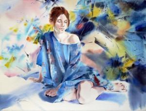 Girl-in-blue-kimono-23Fille-en-kimono-bleu50x70
