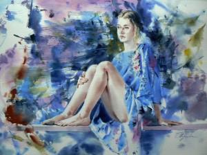 Girl-in-blue-kimono-2Fille-en-kimono-bleu50x70