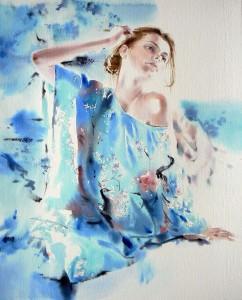 Girl-in-blue-kimonoFille-en-kimono-bleu60X50