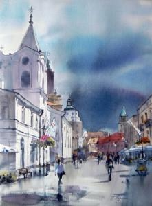 akwarelaKrakowskie-Przedmiecie-Lublin