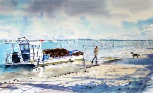 Powrót do rybackiej wioski akwarela